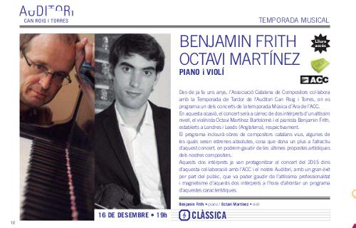 Concert Octavi Martínez i Benjamin Frith